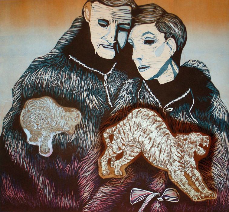 Karvainen pariskunta/Hairy couple, 2012, 69x74cm, kohopaino,etsaus/blockprint, etching