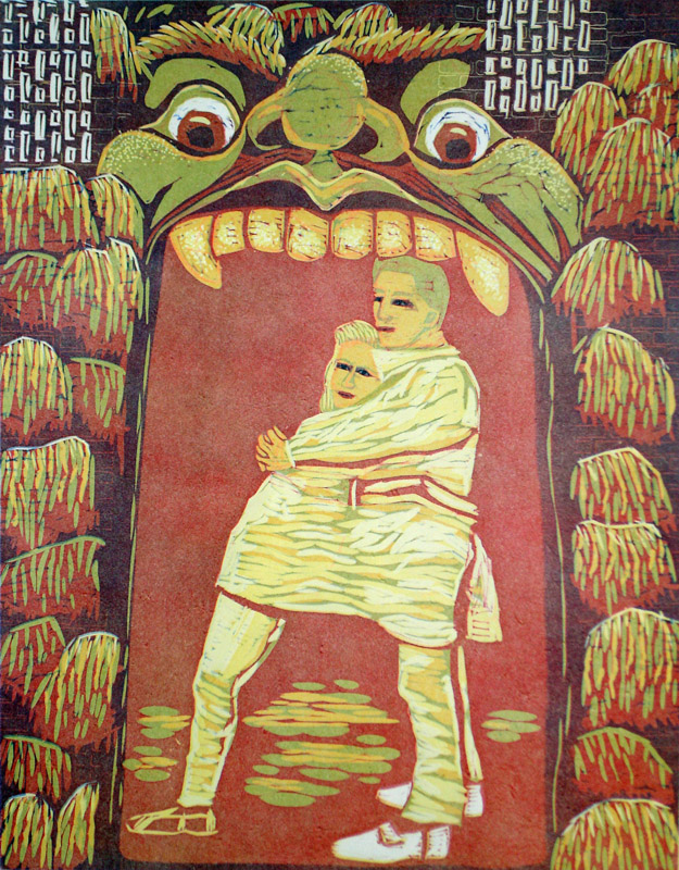 Kita/Mouth, 2012, 64x50cm, kohopaino/blockprint