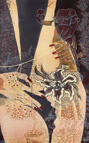 Kuumat yöt/Hot nights, 2007, 130x80cm, kohopaino/blockprint