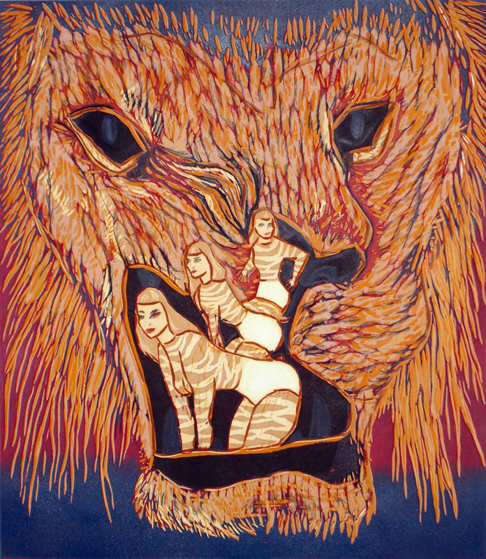 Leijonan kita/The jaws of lion, 2012, 50x43cm, kohopaino/blockprint