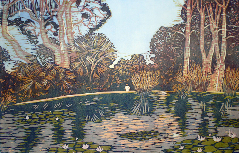 Puistossa/At the park, 2012, 55x85cm, kohopaino/blockprint