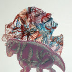 Perhosnainen ja dinosaurus/Butterfly Woman and Dinosaur, 2011, kohopaino/blockprint, 65 x 50 cm