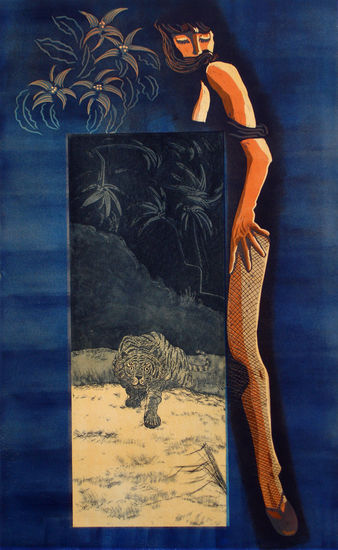 Tiikeri ja nainen/Woman and tiger, 2011, etsaus, akvatinta, kohopaino/etching, blockprint, 105 x 65 cm