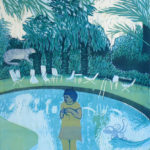 Tyttö altaalla/Girl on the pool, 2011, etsaus, akvatinta, kohopaino/etching, blockprint, 79 x 60 cm