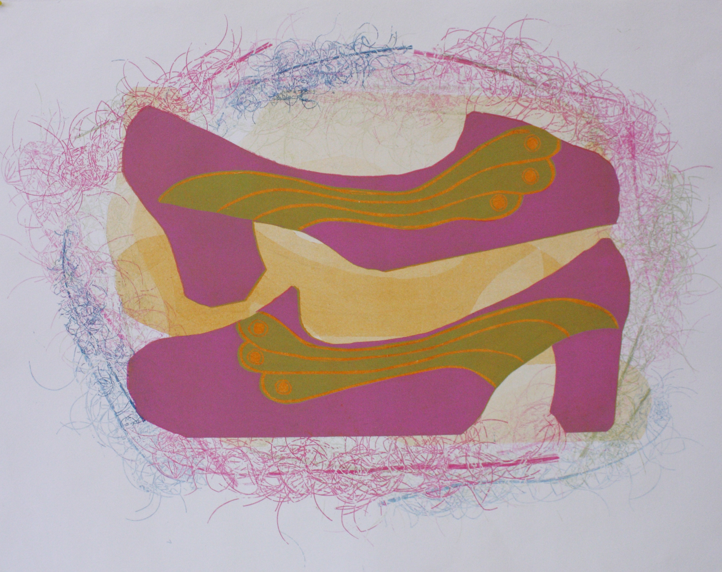 Pinkit kengät/Pink shoes 2019, kohopaino, monotypia/relief print, monotype, 52x68cm