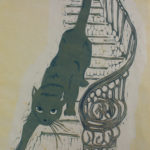Kissa portailla/Cat on the Stairs 2019, kohopaino/relief print, 80x60cm